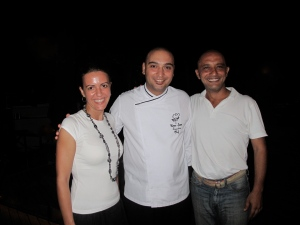 Owners Ebru and Burak with their chef, Emre, in the centre
